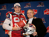 Montreal (qc) CANADA - 2009 sept 13 file Photo - the Montreal's Alouettes football player steve Charbonneau (L)
