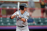 Akron RubberDucks Alex Call (7) at bat during an Eastern League game against the Erie SeaWolves on June 2, 2019 at UPMC Park in Erie, Pennsylvania.  Akron defeated Erie 7-2 in the first game of a doubleheader.  (Mike Janes/Four Seam Images)