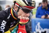 a contemplative Belgian Champion Jens Debusschere (BEL/Lotto-Soudal) at the start<br /> <br /> 3 Days of De Panne 2015