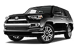 Stock pictures of low aggressive front three quarter view of a 2015 Toyota 4Runner Limited 5 Door SUV