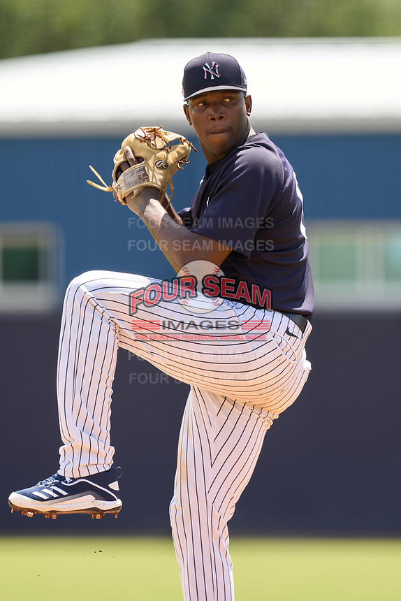 FCL Yankees pitcher Tyrone Yulie (68) during a game against the FCL Blue Jays on June 29, 2021 at the Yankees Minor League Complex in Tampa, Florida.  (Mike Janes/Four Seam Images)