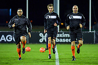 assistant referee Faysal Touijri , referee Christopher Pottier , assistant referee Hassan El Galai pictured before a female soccer game between RSC Anderlecht Dames and Oud Heverlee Leuven on the 11 th matchday of the 2020 - 2021 season of Belgian Womens Super League , friday 22 nd of January 2021  in Tubize , Belgium . PHOTO SPORTPIX.BE | SPP | STIJN AUDOOREN