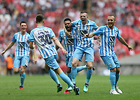 28th May 2018, Wembley Stadium, London, England;  EFL League 2 football, playoff final, Coventry City versus Exeter City; Jordan Willis of Coventry City celebrates scoring his sides goal in the 49th minute to make it 1-0 with Liam Kelly, Jordan Shipley and Tom Bayliss