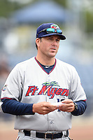 Fort Myers Miracle manager Doug Mientkiewicz (16) during the lineup exchange before a game against the Charlotte Stone Crabs on April 16, 2014 at Charlotte Sports Park in Port Charlotte, Florida.  Fort Myers defeated Charlotte 6-5.  (Mike Janes/Four Seam Images)