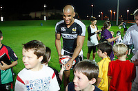 Photo: Richard Lane/Richard Lane Photography. London Wasps in Abu Dhabi for their LV= Cup game against Harlequins on 30st January 2011. 26/01/2011. Wasps' Tom Varndell signs autographs after training at the Zyaid Sports City.