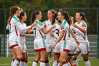 OHL players celebrate the goal of their team during a female soccer game between Oud Heverlee Leuven and Femina White Star Woluwe  on the 5 th matchday of the 2020 - 2021 season of Belgian Womens Super League , Sunday 18 th of October 2020  in Heverlee , Belgium . PHOTO SPORTPIX.BE | SPP | SEVIL OKTEM