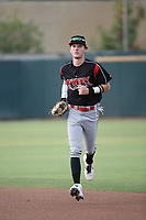 Robert Hassell III (9) of the Lake Elsinore Storm runs to the dugout during a game against the Inland Empire 66ers at San Manuel Stadium on July 25, 2021 in San Bernardino, California. (Larry Goren/Four Seam Images)