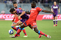 Giacomo Bonaventura of ACF Fiorentina , Lorenzo Insigneand Kalidou Koulibalyof SSC Napoli compete for the ball  during the Serie A 2021/2022 football match between ACF Fiorentina and SSC Napoli at Artemio Franchi stadium in Florence (Italy), October 3rd, 2021. Photo Andrea Staccioli / Insidefoto