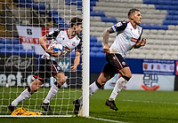 Bolton Wanderers' Antoni Sarcevic (right) celebrates scoring his side's first goal <br /> <br /> Photographer Andrew Kearns/CameraSport<br /> <br /> The EFL Sky Bet League Two - Bolton Wanderers v Mansfield Town - Tuesday 3rd November 2020 - University of Bolton Stadium - Bolton<br /> <br /> World Copyright © 2020 CameraSport. All rights reserved. 43 Linden Ave. Countesthorpe. Leicester. England. LE8 5PG - Tel: +44 (0) 116 277 4147 - admin@camerasport.com - www.camerasport.com