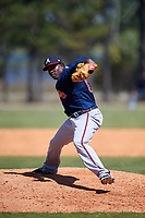 Atlanta Braves pitcher Bladimir Matos (87) during a Minor League Spring Training game against the Detroit Tigers on March 22, 2018 at the TigerTown Complex in Lakeland, Florida.  (Mike Janes/Four Seam Images)