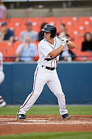 Frederick Keys left fielder T.J. Nichting (17) at bat during the second game of a doubleheader against the Lynchburg Hillcats on June 12, 2018 at Nymeo Field at Harry Grove Stadium in Frederick, Maryland.  Frederick defeated Lynchburg 8-1.  (Mike Janes/Four Seam Images)