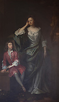 A whistful Isabella Bennett, 2nd Countess of Arlington with her son  Charles Fitroy, 2nd Duke of Grafton. They pose in the fluid, constructed informality of the draped figure traditional of late 17th century portraiture