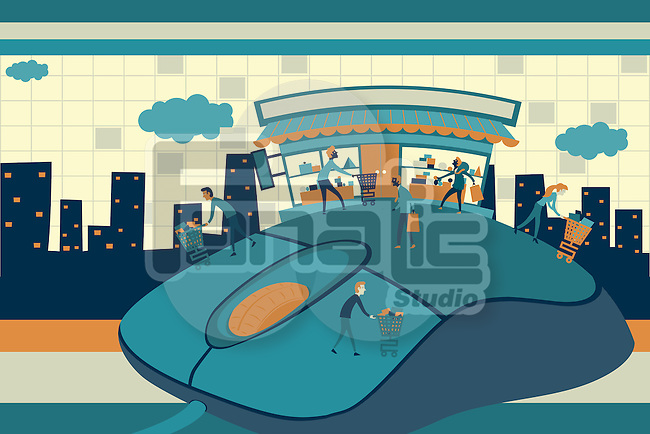 Illustrative image of people on top of computer mouse representing online shopping