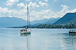Austria, Upper Austria, Salzkammergut, Attersee at lake Attersee: sail boat | Oesterreich, Oberoesterreich, Salzkammergut, Attersee am Attersee: Segelboot