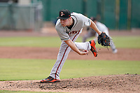 Starting pitcher Houston Roth (19) of the Delmarva Shorebirds in a game against the Lynchburg Hillcats on Wednesday, August 11, 2021, at Bank of the James Stadium in Lynchburg, Virginia. (Tom Priddy/Four Seam Images)