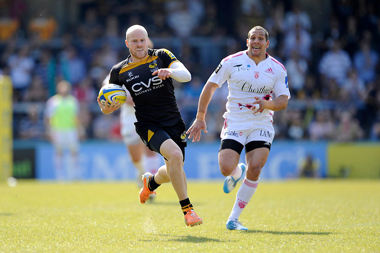 Joe Simpson of London Wasps runs in a second half try during the first leg of the European Rugby Champions Cup play-off match between London Wasps and Stade Francais at Adams Park on Sunday 18th May 2014 (Photo by Rob Munro)