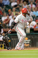 Philadelphia Phillies first baseman Ryan Howard #6 follows through during Major League Baseball game against the Houston Astros at Minute Maid Park in Houston, Texas on September 12, 2011. Houston defeated Philadelphia 5-1.  (Andrew Woolley/Four Seam Images)