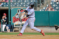 Brock Stassi (28) of the Reading Fightin Phils bats during a game against the New Britain Rock Cats at New Britain Stadium on July 13, 2014 in New Britain, Connecticut. Reading defeated New Britain 6-4.   (Gregory Vasil/Four Seam Images)