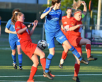 Martyna Rakowicz (38) of Woluwe, Gwen Duijsters (13) of KRC Genk and Jana Simons (8) of Woluwe battle for the ball during a female soccer game between  Racing Genk Ladies and White Star Woluwe on the 8 th matchday of play off 2 in the 2020 - 2021 season of Belgian Scooore Womens Super League , tuesday 18 th of May 2021  in Genk , Belgium . PHOTO SPORTPIX.BE | SPP | JILL DELSAUX