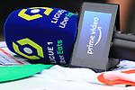 AS SAINT-ETIENNE vs FC LORIENT Football Match Ligue 1 Uber Eats. Saint-Etienne, France on August 8, 2021. A Prime Video Microphone