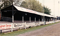 General view of Stafford Rangers FC, Marston Road, Stafford, Staffordshire, pictured on 6th October 1989