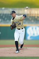 Wake Forest Demon Deacons starting pitcher Carter Bach (18) delivers a pitch to the plate against the Charlotte 49ers at BB&T BallPark on March 13, 2018 in Charlotte, North Carolina.  The 49ers defeated the Demon Deacons 13-1.  (Brian Westerholt/Four Seam Images)