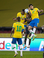 4th June 2021; Beira-Rio Stadium, Porto Alegre, Brazil; Qatar 2022 qualifiers; Brazil versus Ecuador; Alex Sandro and Lucas Paquetá of Brazil cover the cross in their box