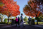November 6, 2020: Attendees walk through fall foliage in the paddock at Keeneland Racetrack in Lexington, Kentucky, on Friday, November 6, 2020. Scott Serio/Eclipse Sportswire/Breeders Cup/CSM