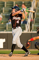 Mikey Planeta #4 of the Delmarva Shorebirds follows through on his swing against the Kannapolis Intimidators at Fieldcrest Cannon Stadium May 12, 2010, in Kannapolis, North Carolina.  Photo by Brian Westerholt / Four Seam Images