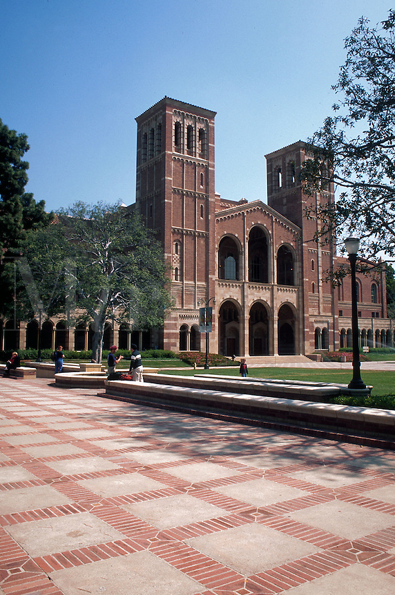 A building and green on the campus of the University of California at Los Angeles (UCLA).