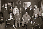 Clare County Council 1980. Back row, from left: Unknown, Teddy Mangan, Michael Guerin, Aoner Sheridan, Frank Hanrahan, Unknown, Senator Michael Howard (FG); front row, from left: Brendan Daly, Tadhg MacConmara (cathaoirleach), Sylvie Barrett (county manager) and Joe Boland. Photograph by Liam McGrath