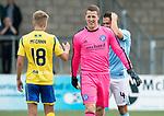 Forfar v St Johnstone….27.07.19      Station Park     Betfred Cup       <br />A big smile on the face of Forfar keeper Marc McCallum at full time<br />Picture by Graeme Hart. <br />Copyright Perthshire Picture Agency<br />Tel: 01738 623350  Mobile: 07990 594431