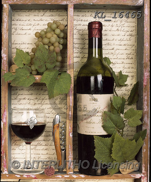 Interlitho-Alberto, STILL LIFE STILLEBEN, NATURALEZA MORTA, paintings+++++,wine, glass,KL16465,#i#, EVERYDAY ,masculin,red wine,spirits