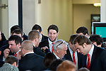 The Welsh rugby team celebrate winning the Grand Slam in the Six Nations rugby tournament at The Senydd in Cardiff Bay..Alex Cuthbert at the drinks reception.