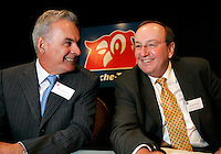 Montreal (Qc) CANADA,  - File Photo -<br /> Alain Bouchard, CEO Groupe <br /> Couche Tard (L)<br /> and Richard Fortin, CFO and Executive VP  CFO (R) at the  Annual General Meeting<br /> <br /> <br /> photo : (c) images Distribution