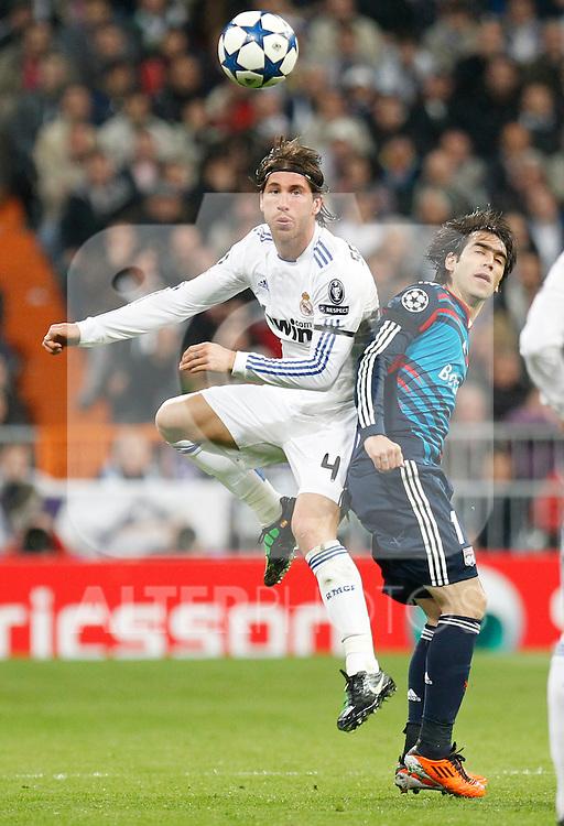 Madrid (16/03/2011).- Estadio Santiago Bernabeu..UEFA Champion League..Real Madrid 3 - Olympique Lyonnais 0.Sergio Ramos, Delgado...©Alex Cid-Fuentes/ALFAQUI...