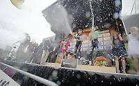 champagne shower on the podium<br /> 1/ winner: Fabian Cancellara (CHE/TrekFactoryRacing)<br /> 2/ Greg Van Avermaet (BEL/BMC)<br /> 3/ Sep Vanmarcke (BEL/Belkin)<br /> <br /> Ronde van Vlaanderen 2014