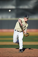 Wake Forest Demon Deacons relief pitcher Andrew Rust (30) in action against the Quinnipiac Bobcats at David F. Couch Ballpark on February 24, 2019 in  Winston-Salem, North Carolina.  The Demon Deacons defeated the Bobcats 15-5.  (Brian Westerholt/Four Seam Images)