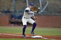 Western Carolina Catamounts first baseman Daylan Nanny (9) fields a throw during the game against the St. John's Red Storm at Childress Field on March 13, 2021 in Cullowhee, North Carolina. (Brian Westerholt/Four Seam Images)