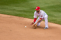 1 April 2013: Washington Nationals second baseman Danny Espinosa in action during the Nationals' Opening Day Game against the Miami Marlins at Nationals Park in Washington, DC. The Nationals shut out the Marlins 2-0 to launch the 2013 season. Mandatory Credit: Ed Wolfstein Photo *** RAW (NEF) Image File Available ***