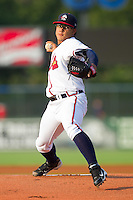 Starting pitcher Robinson Lopez #45 of the Rome Braves in action against the Greenville Drive at State Mutual Stadium July 24, 2010, in Rome, Georgia.  Photo by Brian Westerholt / Four Seam Images