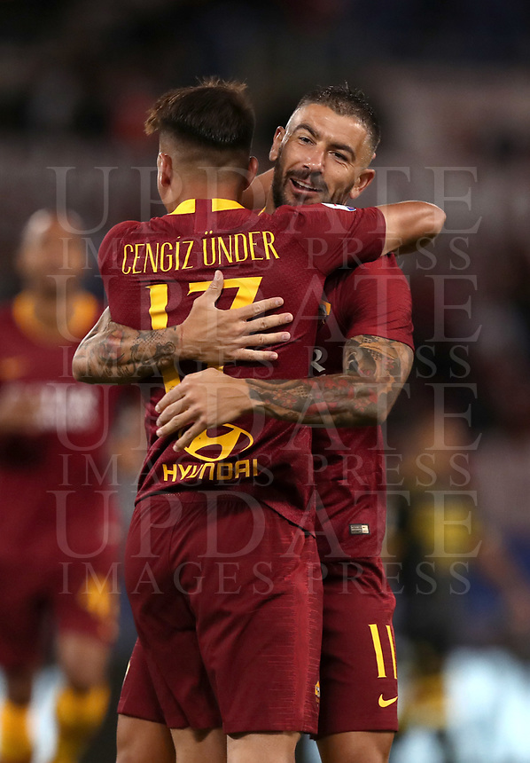 Football, Serie A: AS Roma - Frosinone, Olympic stadium, Rome, 26 September 2018. <br /> Roma's Cengiz Under (l) celebrates after scoring with his teammate Aleksandar Kolarov (r) during the Italian Serie A football match between AS Roma and Frosinone at Olympic stadium in Rome, on September 26, 2018.<br /> UPDATE IMAGES PRESS/Isabella Bonotto
