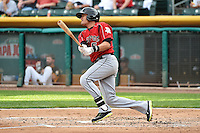 Miguel Rojas (5)  of the Albuquerque Isotopes at bat against the Salt Lake Bees at Smith's Ballpark on May 21, 2014 in Salt Lake City, Utah.  (Stephen Smith/Four Seam Images)