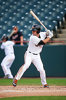 Bowie Baysox third baseman Drew Dosch (11) at bat during the first game of a doubleheader against the Akron RubberDucks on June 5, 2016 at Prince George's Stadium in Bowie, Maryland.  Bowie defeated Akron 12-7.  (Mike Janes/Four Seam Images)