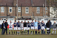 Wounded Knee players line up together to watch the penalty shoot-out during the Hackney Gazette Cup Final at Leyton Football Club - 20/04/08 - MANDATORY CREDIT: Gavin Ellis/TGSPHOTO - Self billing applies where appropriate - Tel: 0845 094 6026