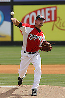 Dallas Buck #20 of the Carolina Mudcats pitching during a game against the Tennessee Smokies on April 20, 2010 in Zebulon, NC.