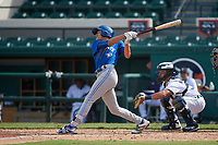 Toronto Blue Jays Cameron Eden (5) bats during a Florida Instructional League game against the Detroit Tigers on October 28, 2020 at Joker Marchant Stadium in Lakeland, Florida.  (Mike Janes/Four Seam Images)