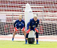 HOUSTON, TX - JUNE 8: Alyssa Naeher #1 and Jane Campbell #18 of the USWNT look to the ball during a training session at the University of Houston on June 8, 2021 in Houston, Texas.