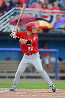 Auburn Doubledays shortstop David Masters #22 during a game against the Batavia Muckdogs on July 3, 2013 at Dwyer Stadium in Batavia, New York.  Batavia defeated Auburn 12-2.  (Mike Janes/Four Seam Images)