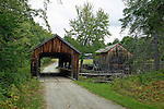 View of water-powered sawmill and covered bridge, Leonard's Mills, Bradley, Penobscot County, Maine, USA.